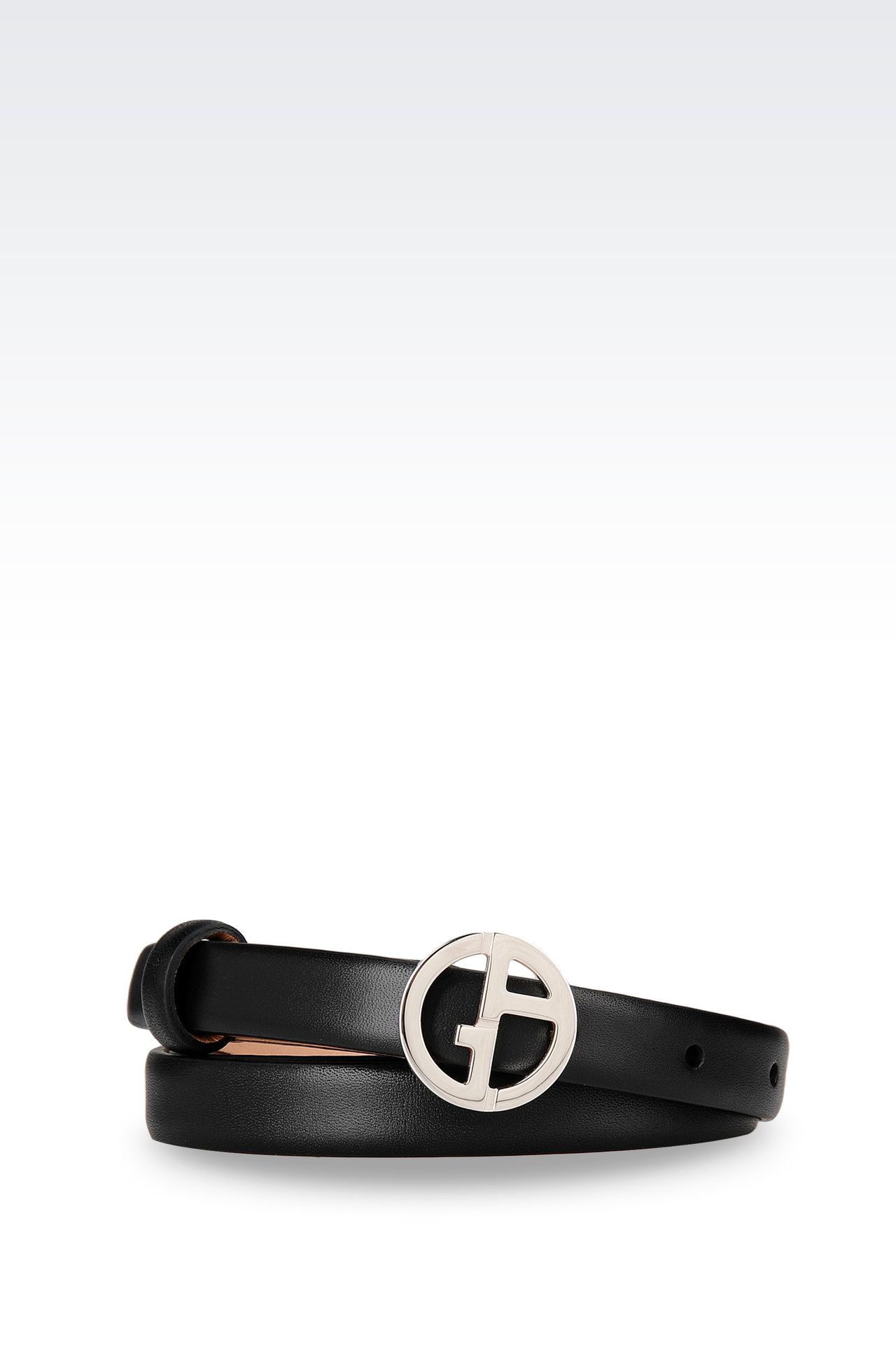 BELT IN CALFSKIN LOGO BUCKLE: Leather belts Women by Armani - 0
