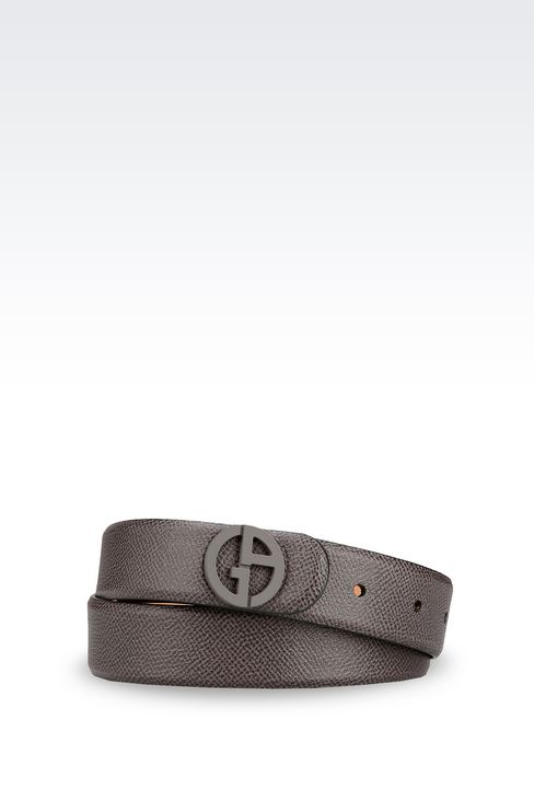 BELT IN PRINTED CALFSKIN LOGO BUCKLE: Leather belts Women by Armani - 1