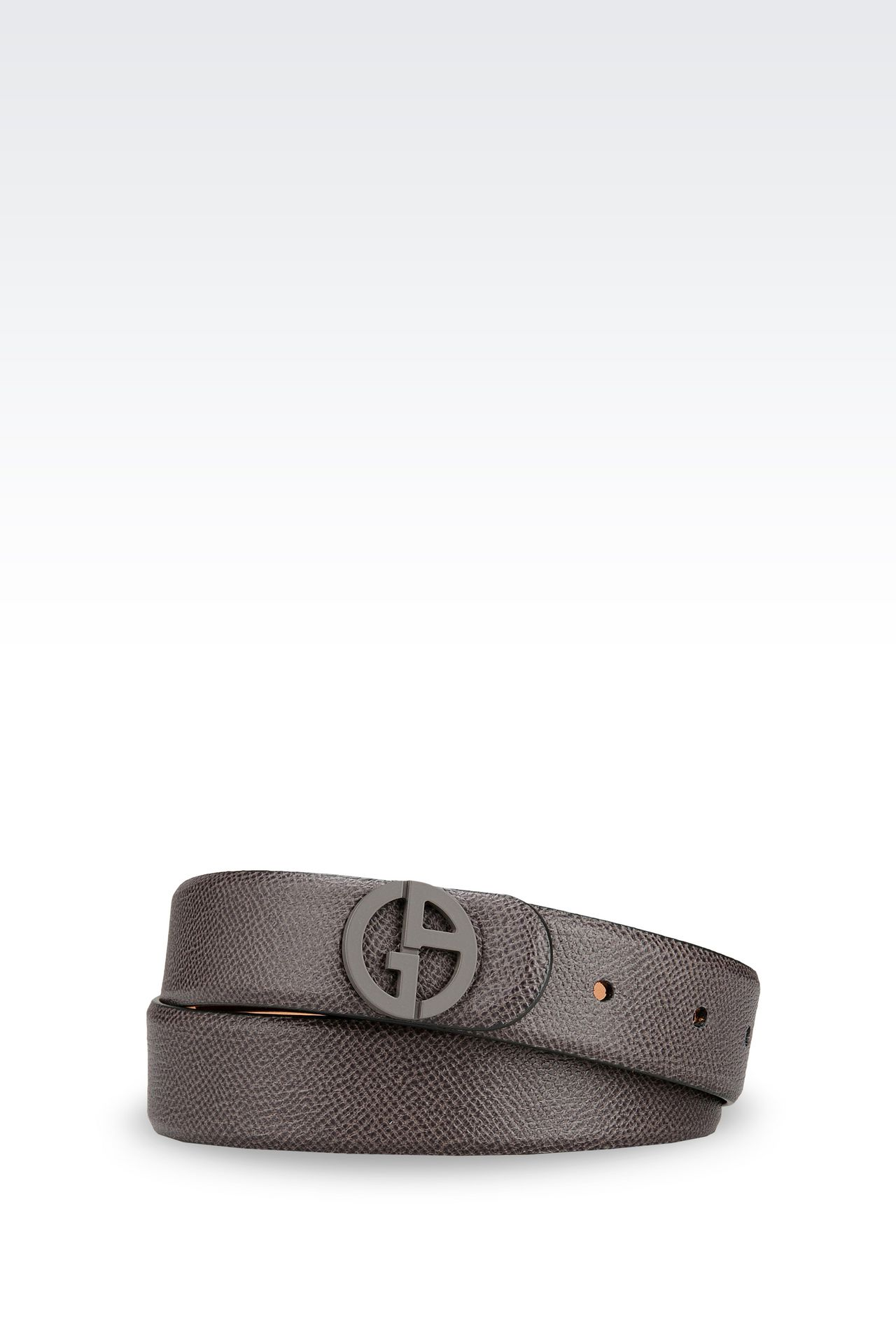 BELT IN PRINTED CALFSKIN LOGO BUCKLE: Leather belts Women by Armani - 0