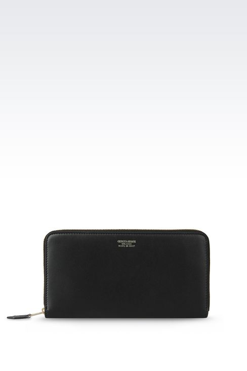 ZIP AROUND WALLET IN CALFSKIN: Wallets Women by Armani - 1