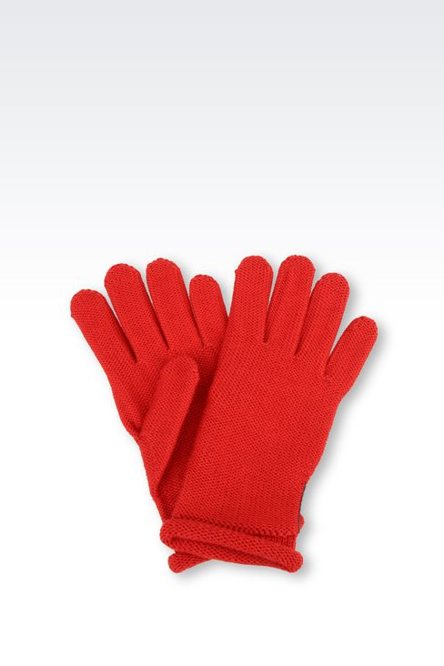 WOOL BLEND GLOVE WITH RHINESTONE LOGO: Gloves Women by Armani - 1