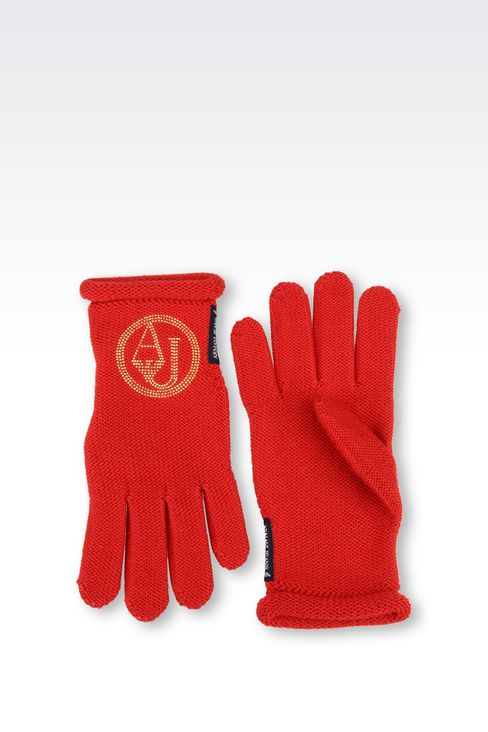 WOOL BLEND GLOVE WITH RHINESTONE LOGO: Gloves Women by Armani - 2