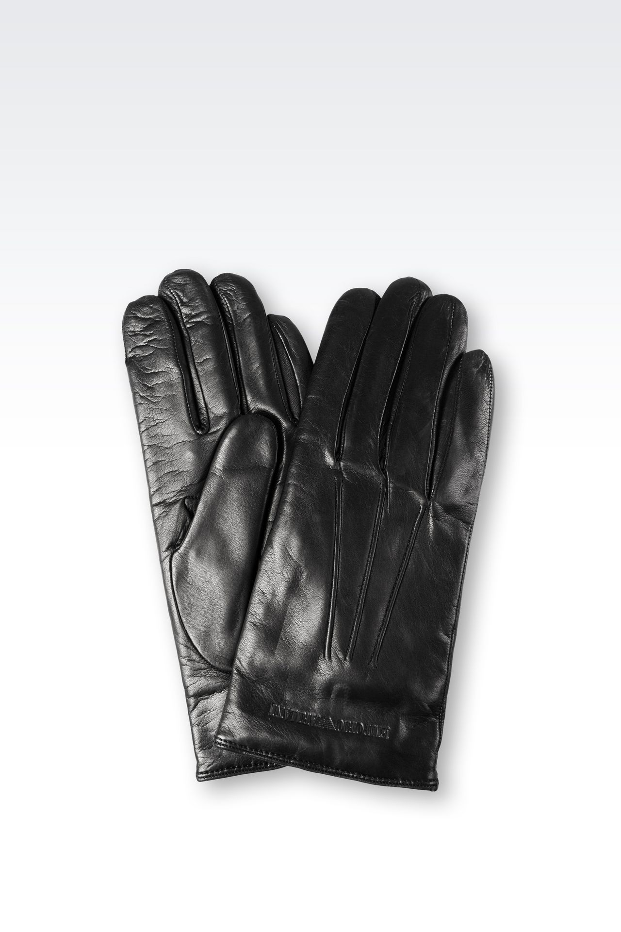 Armani exchange black leather gloves -