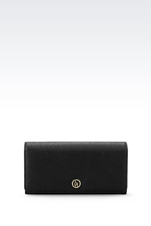 BUTTON WALLET IN FAUX SAFFIANO: Wallets Women by Armani - 1