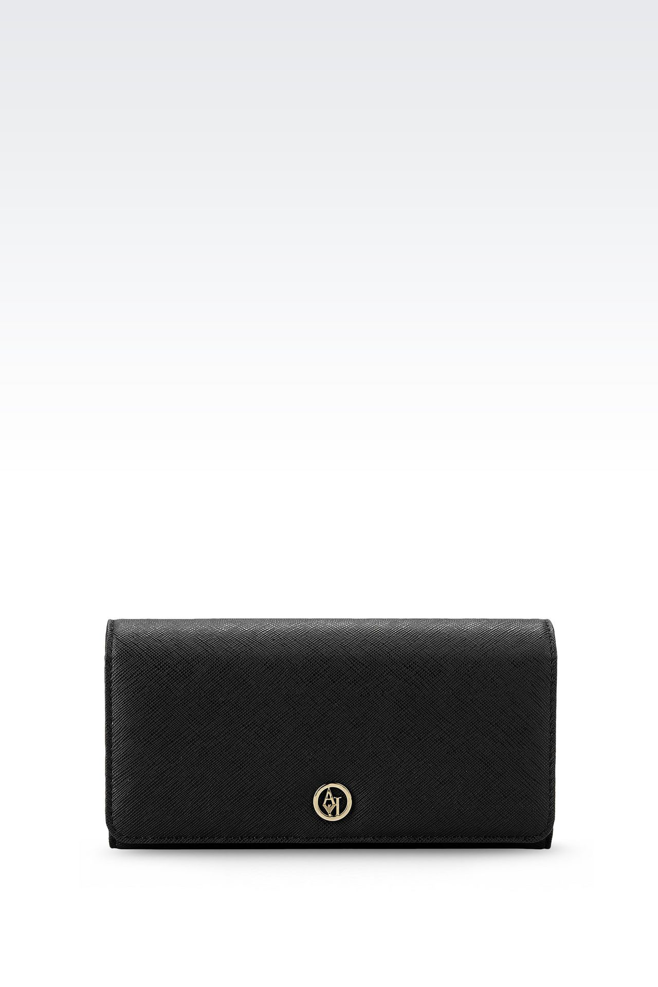 BUTTON WALLET IN FAUX SAFFIANO: Wallets Women by Armani - 0