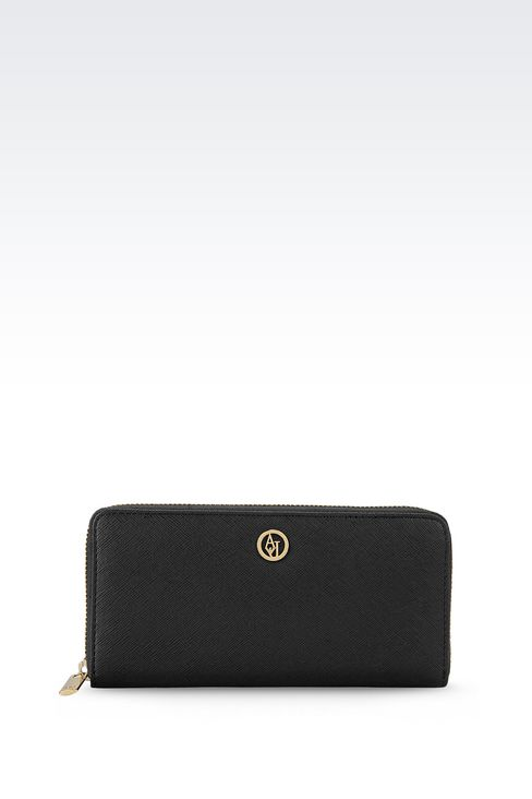 ZIP AROUND WALLET IN FAUX SAFFIANO: Wallets Women by Armani - 1