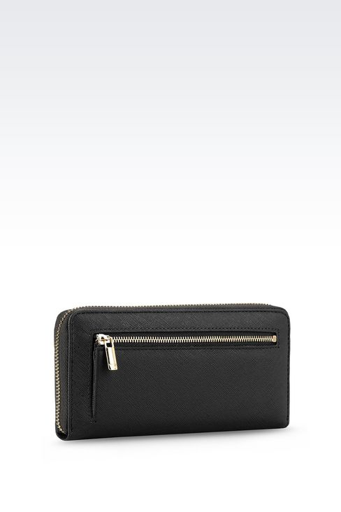 ZIP AROUND WALLET IN FAUX SAFFIANO: Wallets Women by Armani - 2