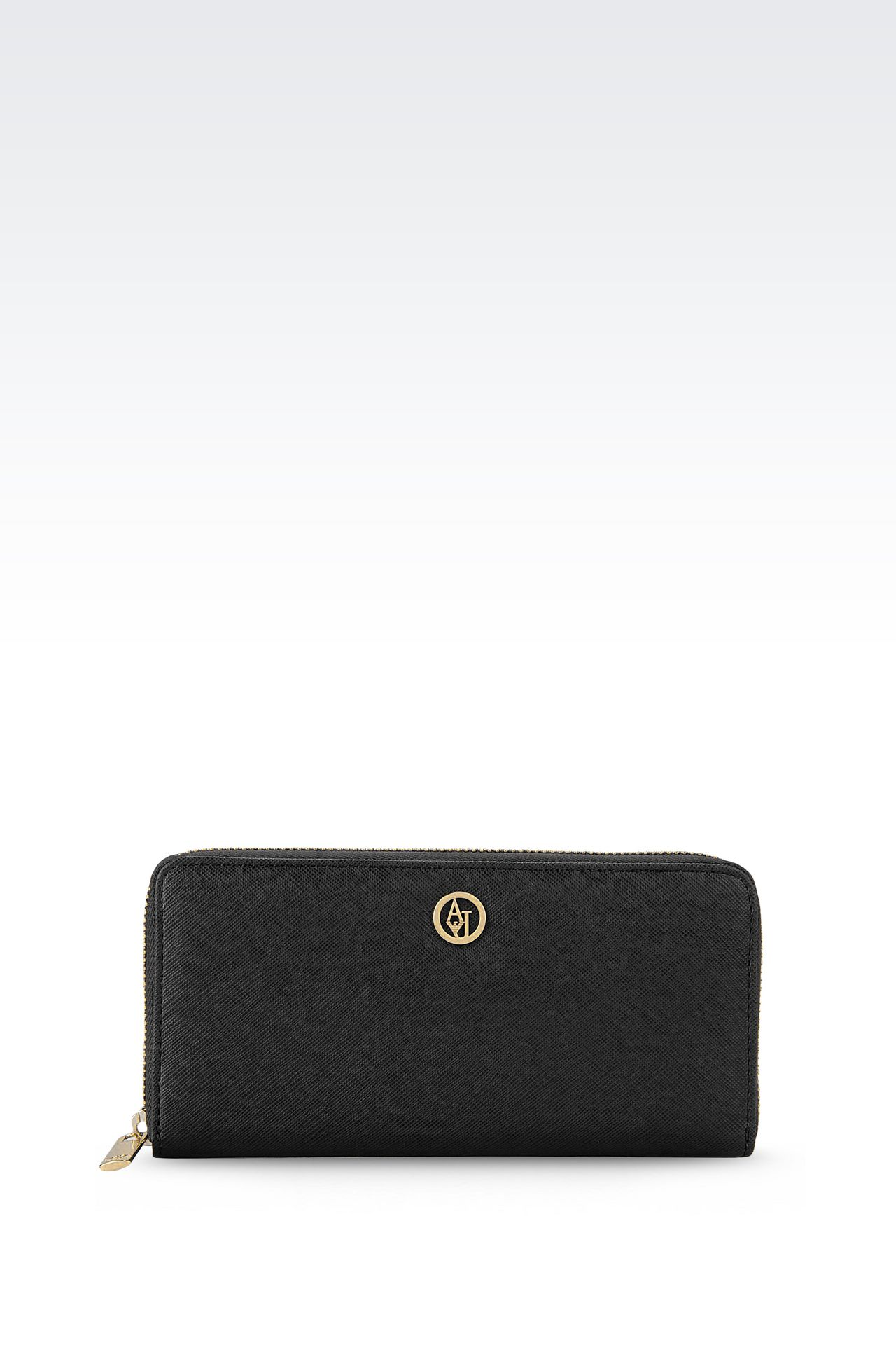 ZIP AROUND WALLET IN FAUX SAFFIANO: Wallets Women by Armani - 0