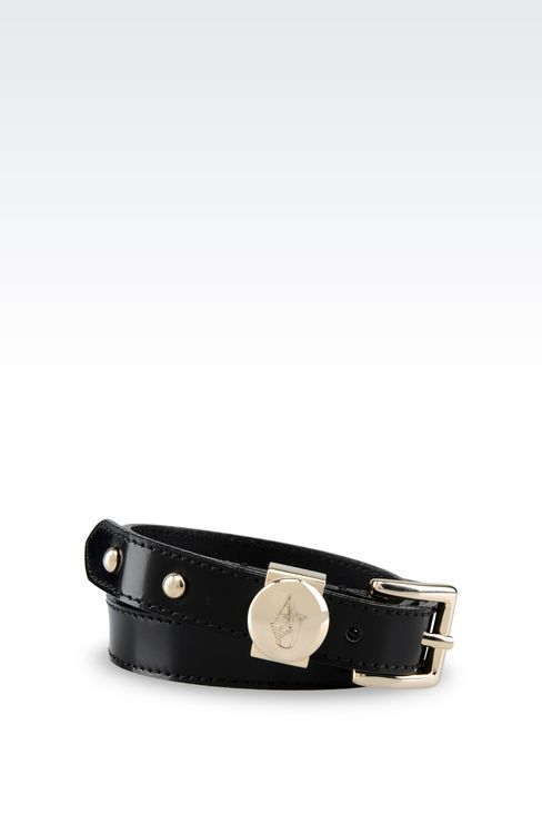 BRUSHED LEATHER BELT: Leather belt Women by Armani - 1