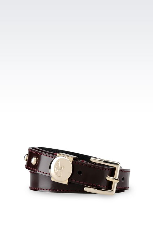 BRUSHED LEATHER BELT: Textile belts Women by Armani - 1