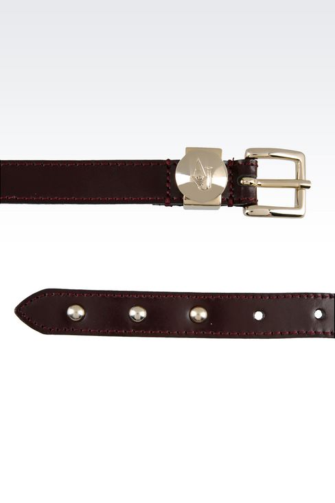 BRUSHED LEATHER BELT: Textile belts Women by Armani - 2