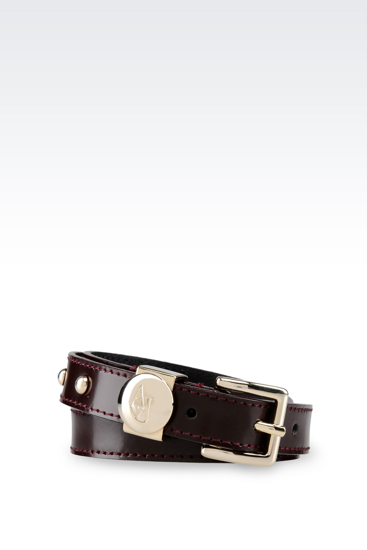 BRUSHED LEATHER BELT: Textile belts Women by Armani - 0