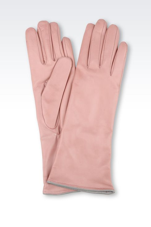 LONG LEATHER GLOVE WITH CONTRASTING TRIMS: Gloves Women by Armani - 1