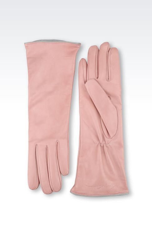 LONG LEATHER GLOVE WITH CONTRASTING TRIMS: Gloves Women by Armani - 2