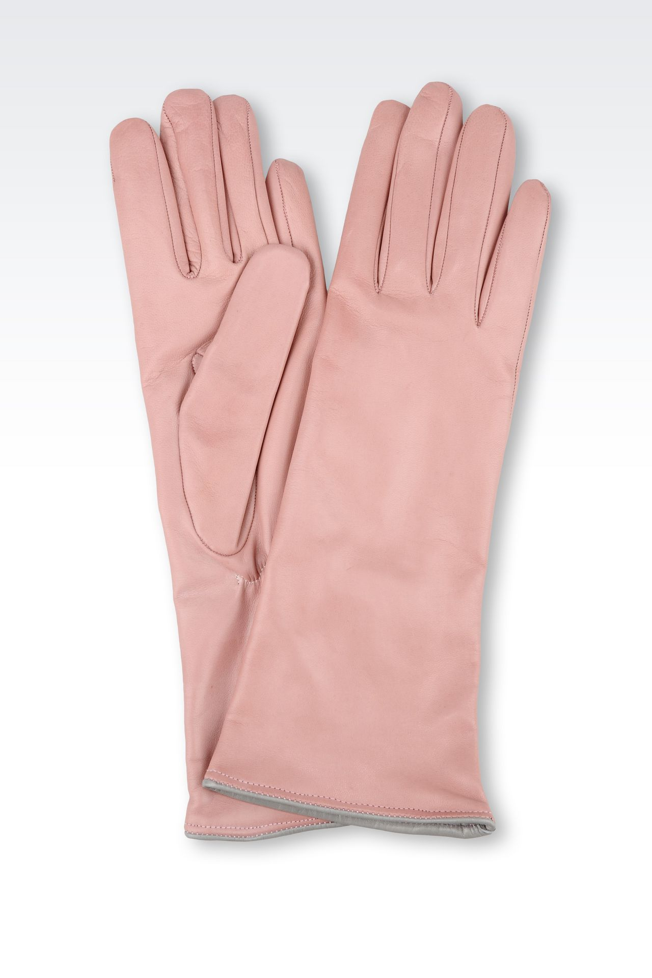 LONG LEATHER GLOVE WITH CONTRASTING TRIMS: Gloves Women by Armani - 0