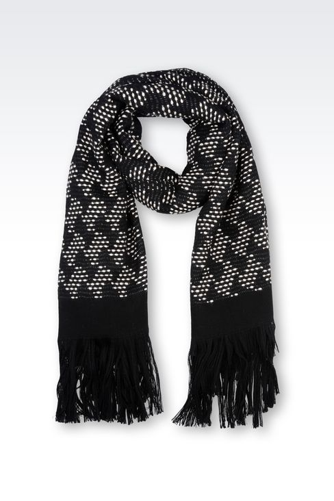 WRAP IN WOOL BLEND WITH PERFORATED EFFECT: Stoles Women by Armani - 1