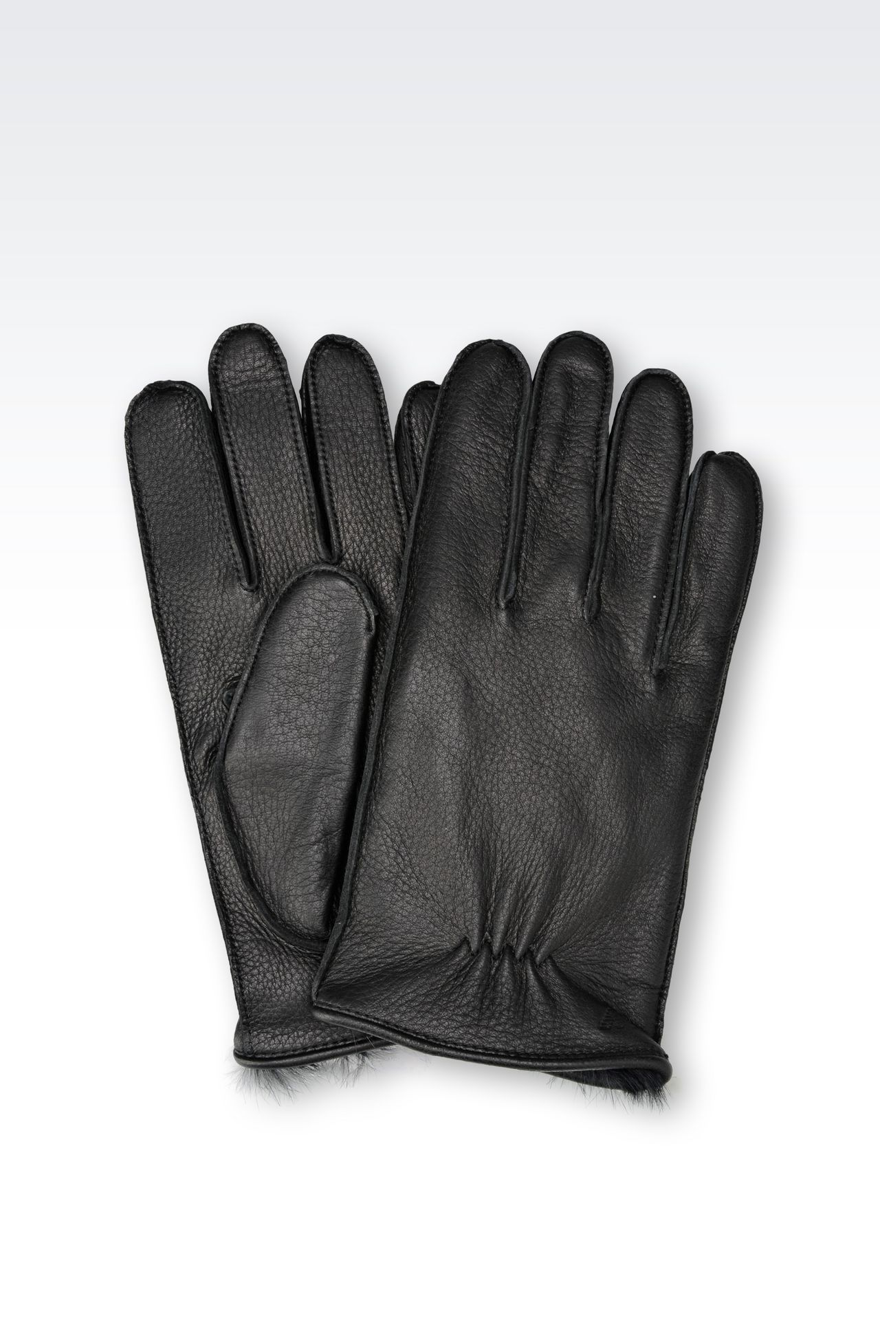 Mens leather gloves fur inside - Leather Gloves With Rabbit Fur Lining Gloves Men By Armani 0