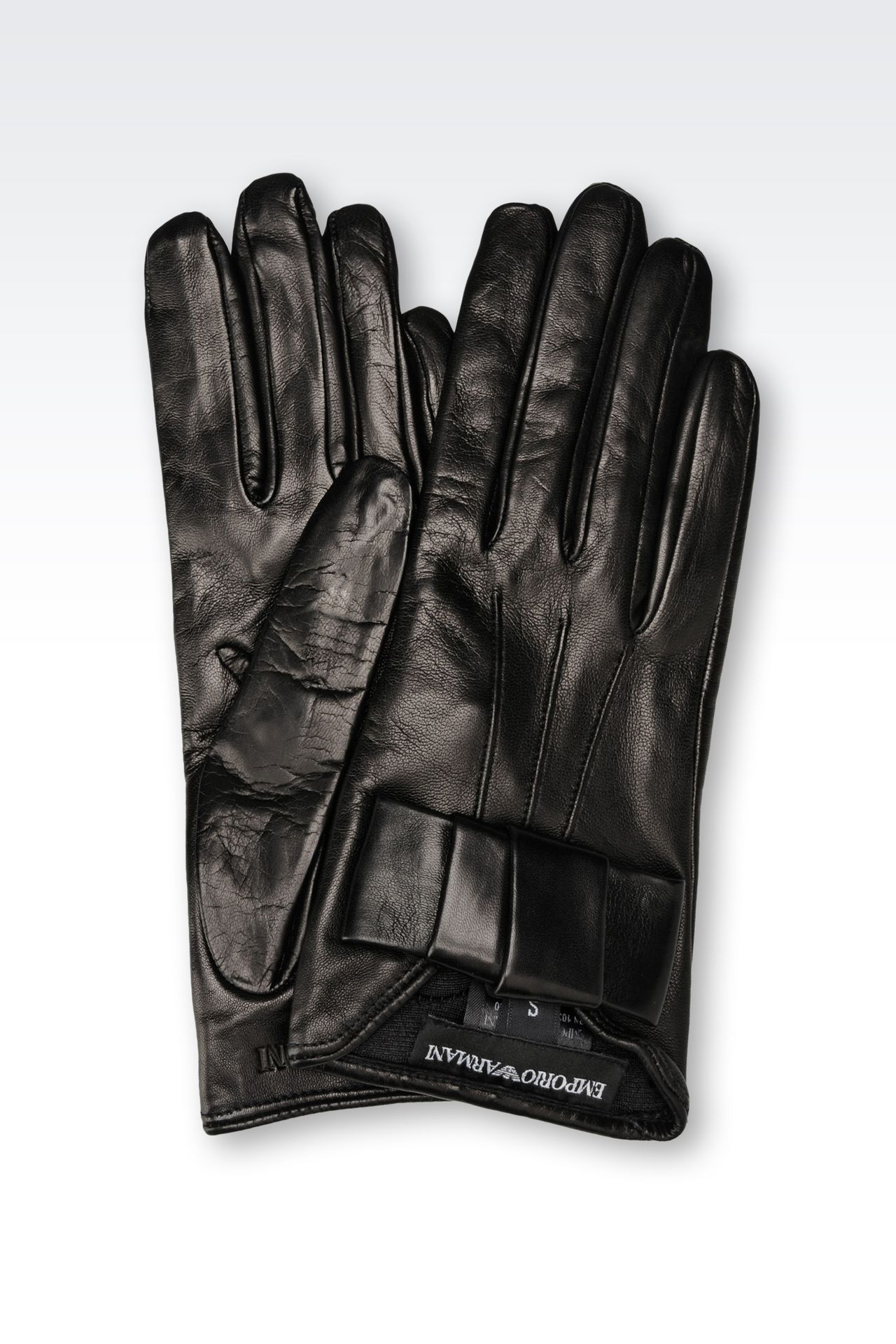 NAPA LEATHER GLOVE WITH BOW: Gloves Women by Armani - 0
