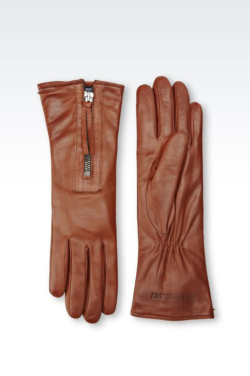 NAPA LEATHER GLOVE WITH ZIP: Gloves Women by Armani - 2