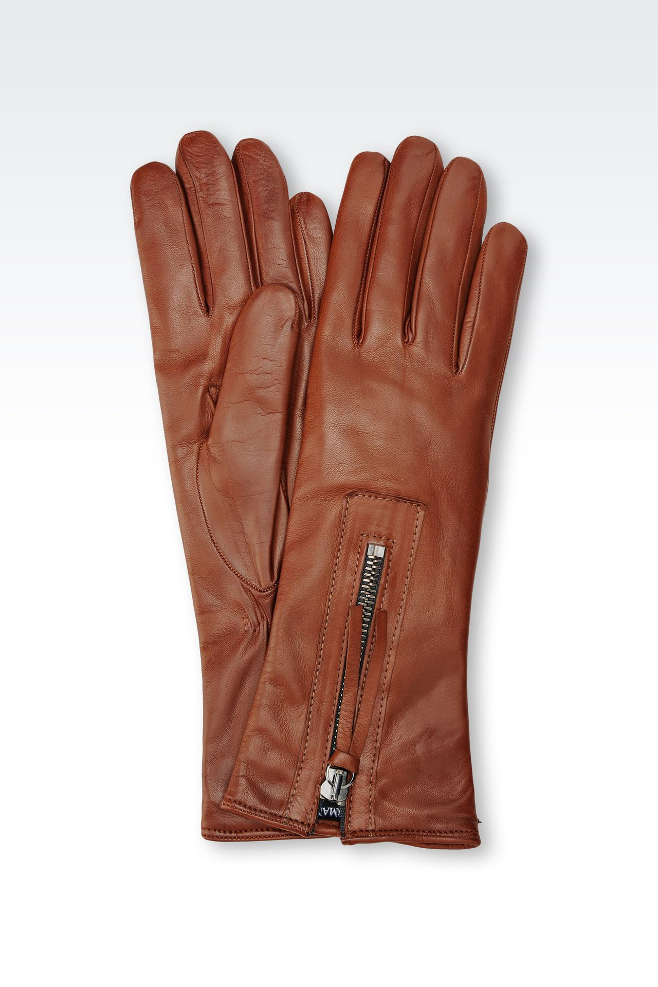 NAPA LEATHER GLOVE WITH ZIP: Gloves Women by Armani - 0