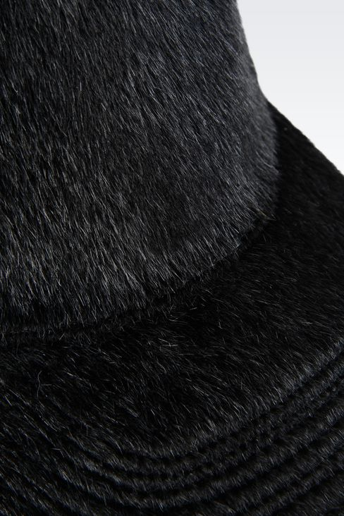 BASEBALL CAP IN SHEARED FAUX FUR: Hats Men by Armani - 3