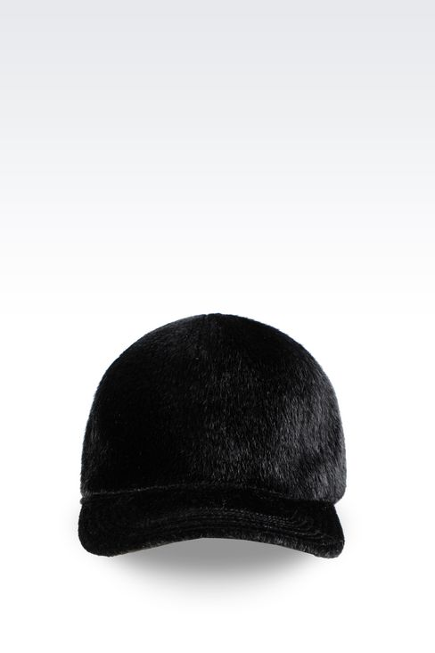 BASEBALL CAP IN SHEARED FAUX FUR: Hats Men by Armani - 1