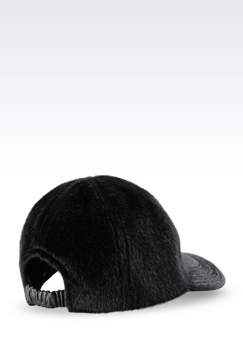 BASEBALL CAP IN SHEARED FAUX FUR: Hats Men by Armani - 2