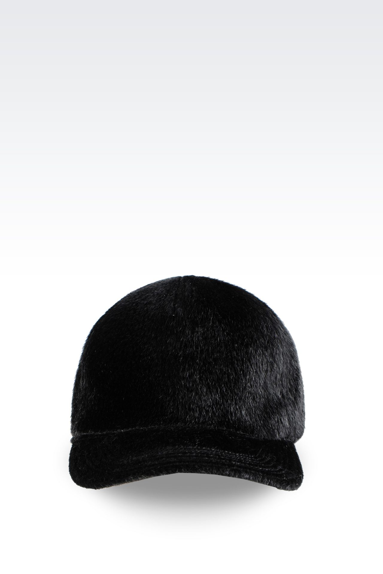 BASEBALL CAP IN SHEARED FAUX FUR: Hats Men by Armani - 0