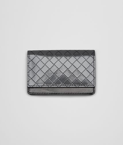 BOTTEGA VENETA - New Light Grey Intreccio Scolpito Spazzolato Card Case