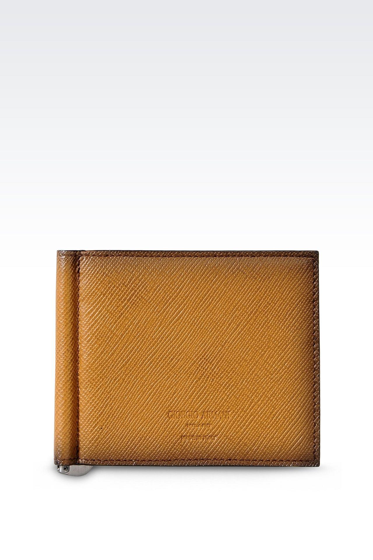 BI-FOLD WALLET IN SAFFIANO CALFSKIN WITH MONEY CLIP: Wallets Men by Armani - 0