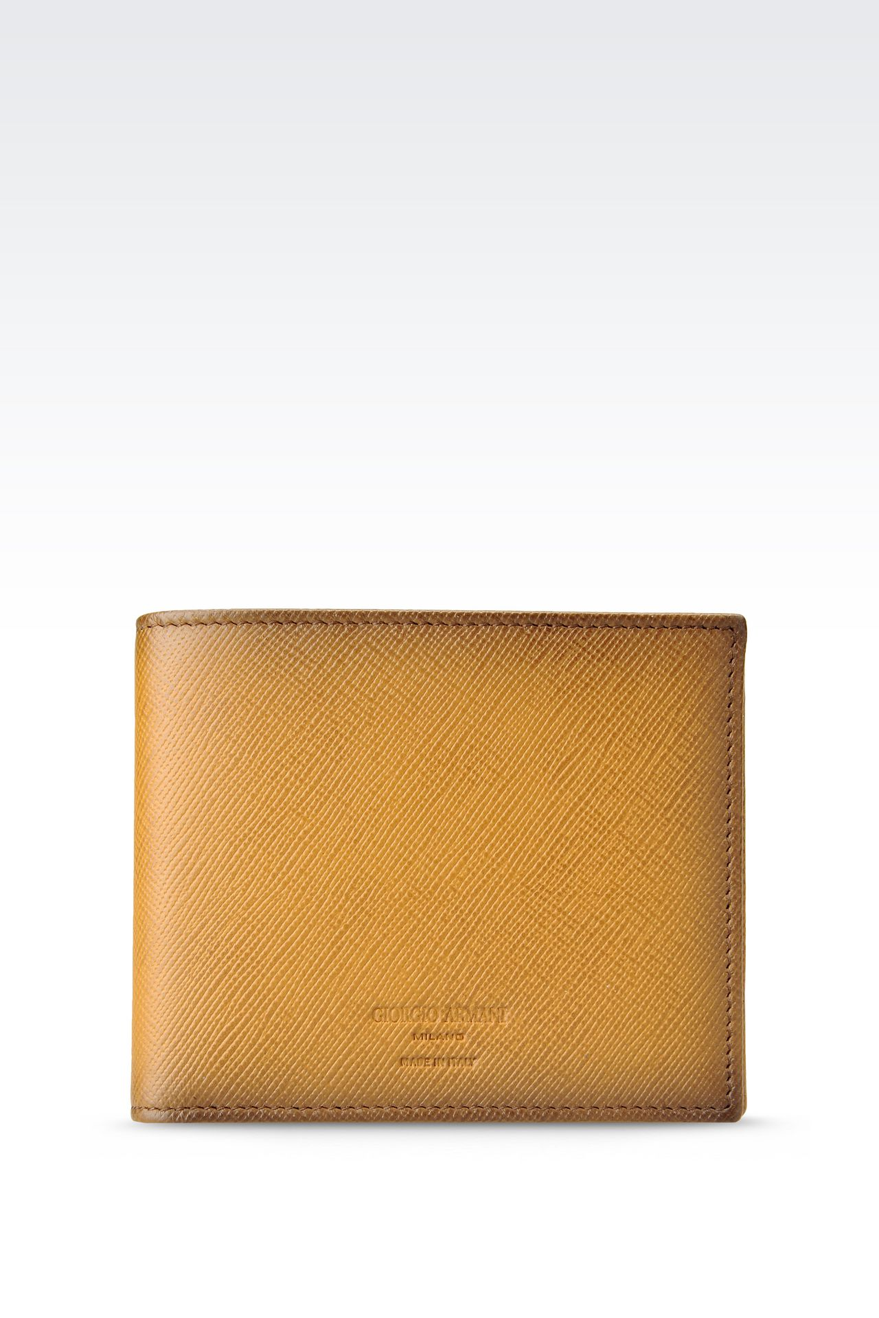 BI-FOLD WALLET IN BRUSHED SAFFIANO CALFSKIN: Wallets Men by Armani - 0