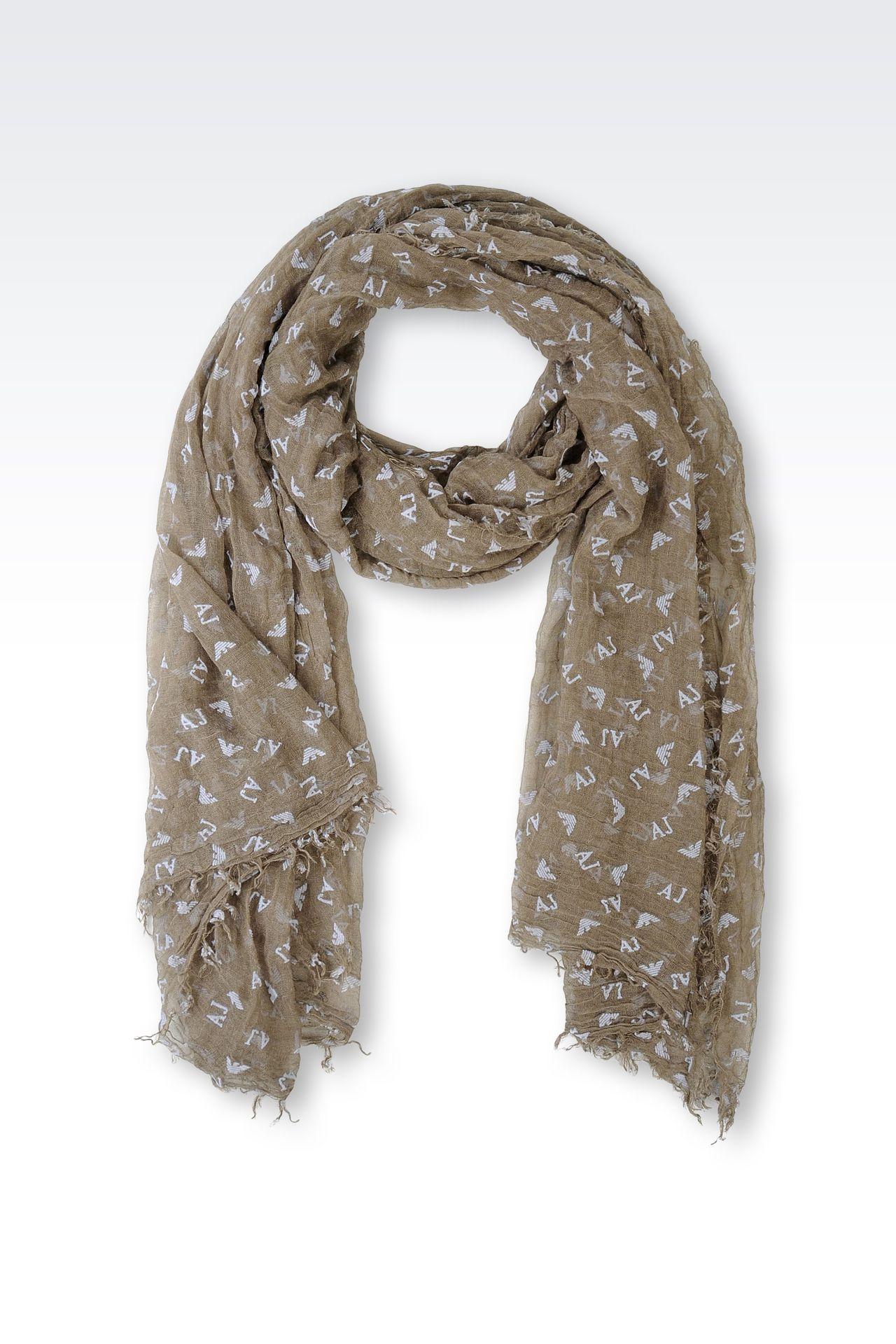 armani scarf in logoed fabric polyester