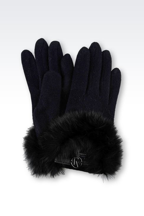 WOOL AND RABBIT FUR GLOVES: Gloves Women by Armani - 1