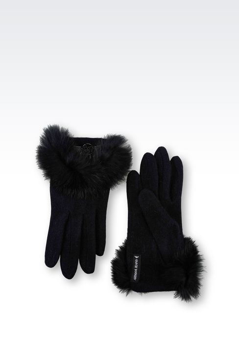 WOOL AND RABBIT FUR GLOVES: Gloves Women by Armani - 2