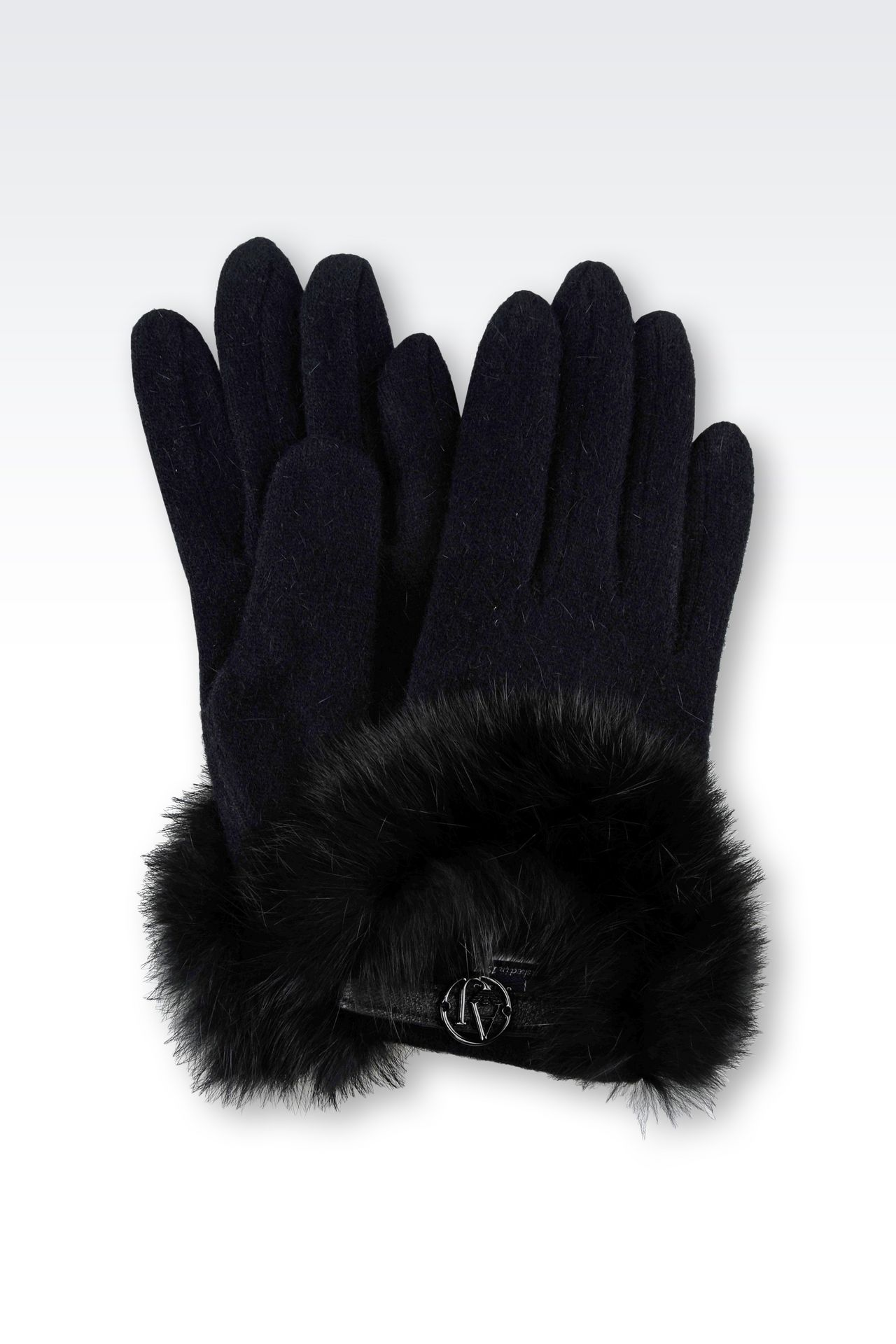 WOOL AND RABBIT FUR GLOVES: Gloves Women by Armani - 0
