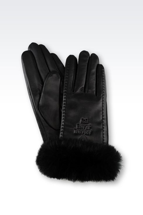 LEATHER AND RABBIT FUR GLOVES: Gloves Women by Armani - 1
