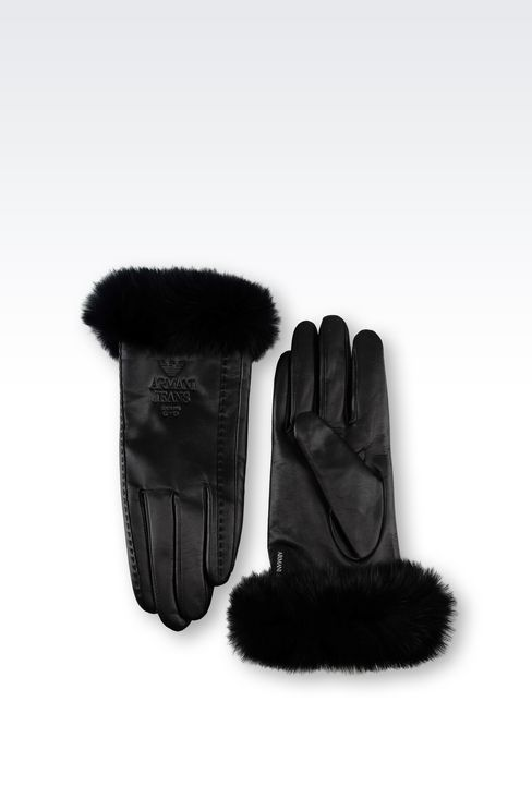 LEATHER AND RABBIT FUR GLOVES: Gloves Women by Armani - 2