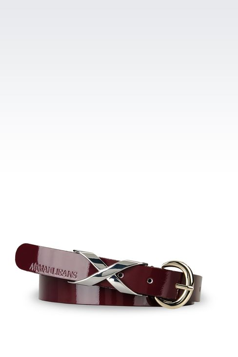 LEATHER BELT WITH EMBELLISHED BUCKLE: Leather belt Women by Armani - 1