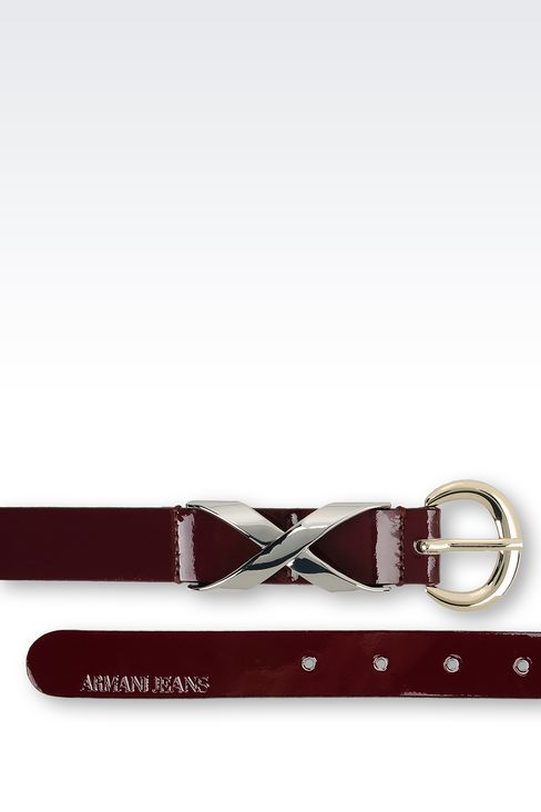 LEATHER BELT WITH EMBELLISHED BUCKLE: Textile belts Women by Armani - 2