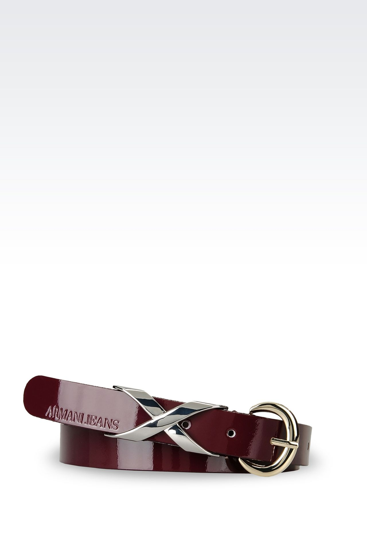 LEATHER BELT WITH EMBELLISHED BUCKLE: Textile belts Women by Armani - 0