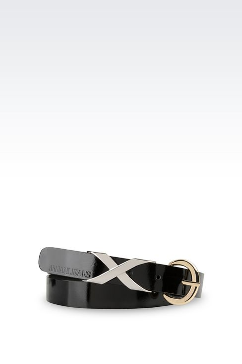 LEATHER BELT WITH EMBELLISHED BUCKLE: Textile belts Women by Armani - 1