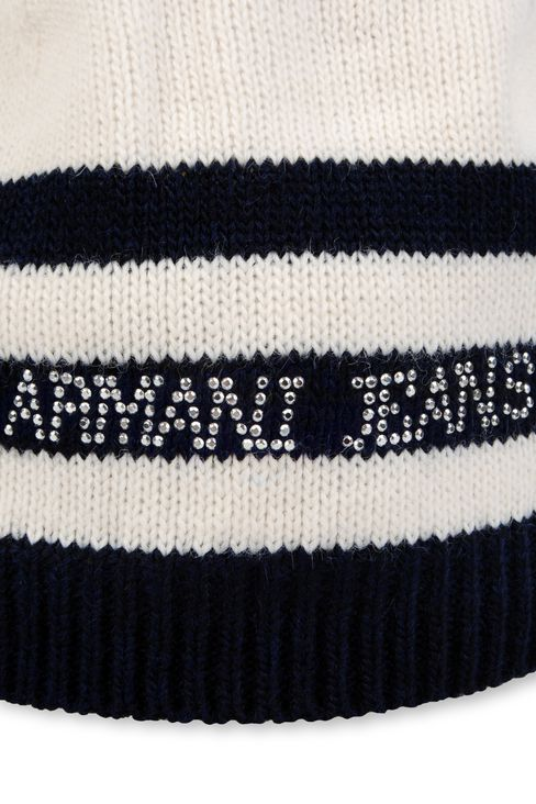 STRIPED HAT WITH RHINESTONE LOGO: Hats Women by Armani - 3