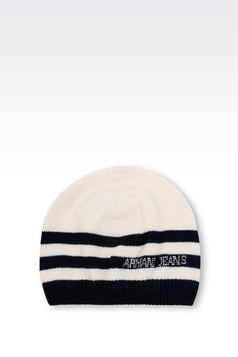 STRIPED HAT WITH RHINESTONE LOGO: Hats Women by Armani - 1