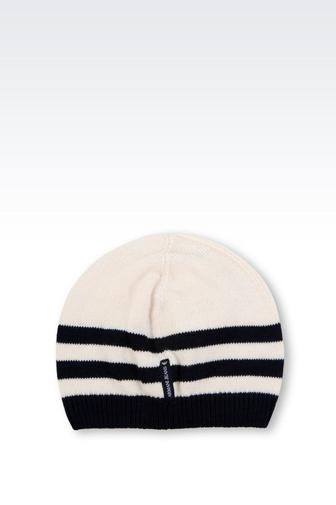 STRIPED HAT WITH RHINESTONE LOGO: Hats Women by Armani - 2