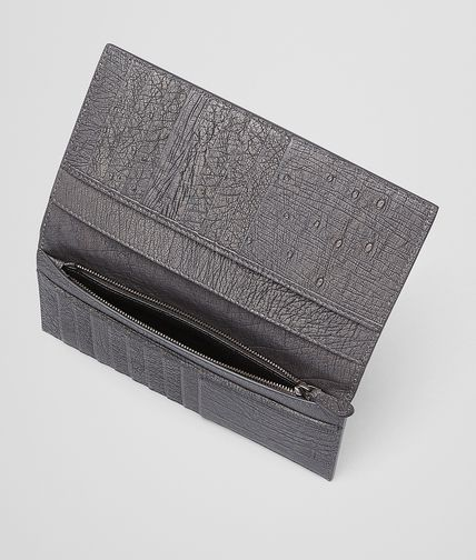 BOTTEGA VENETA - New Light Grey Intrecciato Antique Ostrich Continental Wallet