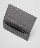 New Light Grey Intrecciato Antique Ostrich Continental Wallet