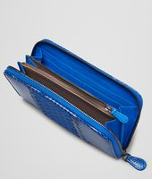 SIGNAL BLUE AYERS WASHED LAMBSKIN ZIP AROUND WALLET