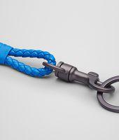 Signal Blue Intrecciato Nappa Key Ring