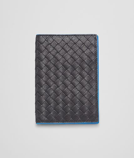 BOTTEGA VENETA - Nero Signal Blue Intrecciato Washed Vintage Passport Case