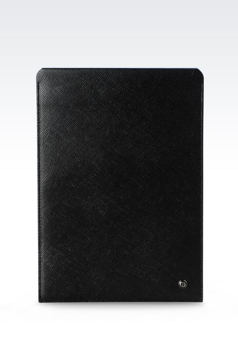 TABLET HOLDER IN SAFFIANO CALFSKIN: iPad holders Men by Armani - 1